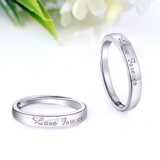 #9 Adjustable Crystal Stainless Steel Couple Promise Engagement Ring Wedding Band @BestGift for Love