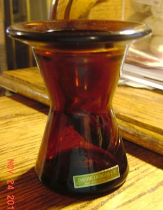 Free Vintage Dansk Designs Honey Amber Vase Candle Holder Made In