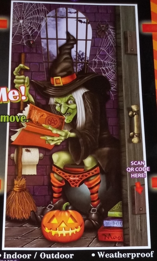 HALLOWEEN DOOR COVER WITCH SITTING ON TOLIET SIZE 30 INCHES X 60 INCHES