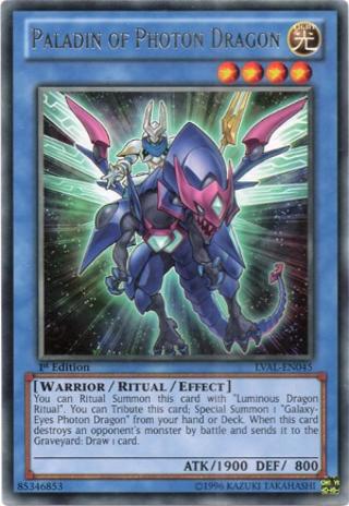 YuGiOh! Paladin of Photon Dragon - LVAL-EN045 - Rare 1st Edition Card YuGiOh TCG