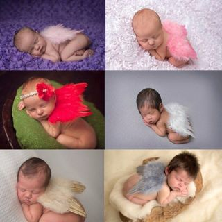 [GIN FOR FREE SHIPPING] Newborn Baby Girls Boys Angel Wings Costume Photo Photography Prop Outfits