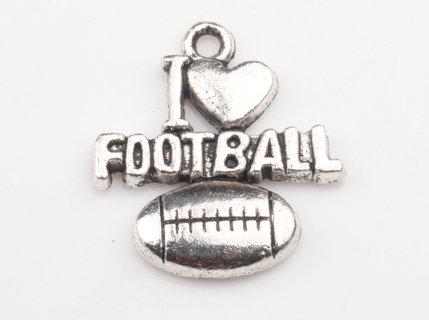I heart football charm/pendant