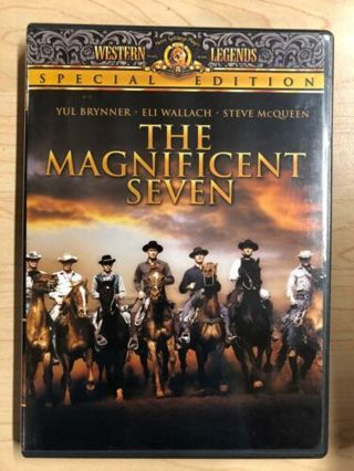 Lot of 3 Westerns Indians, Wounded Knee, Magnificant 7, Charlton Heston Dvd Movies-Like New!