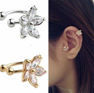 1pc Womens Personality Crystal Flower Charm Ear Clip Cuff Earring Stud Jewelry