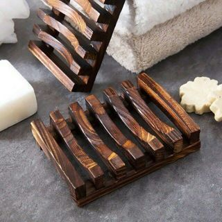 Natural Hot Wood Tray Holder Bath Shower Plate Bathroom Wooden Soap Dish Storage