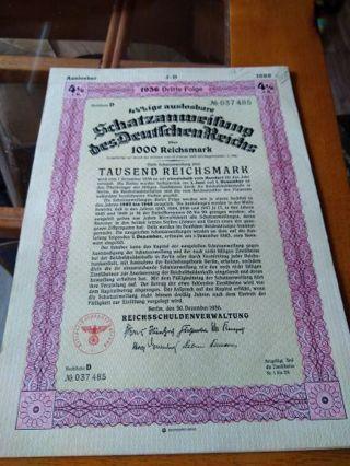 1936 Third Reich Nazi Germany 1000 Reichsmark s Bond final price reduction