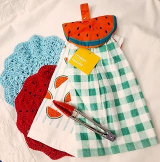 "Crochet 2 - 9"" Dish Cloth/Wash Cloths 1 HANGING TOWEL 1 TERRY CLOTH TOWEL 1 PAIR OF TONGS"