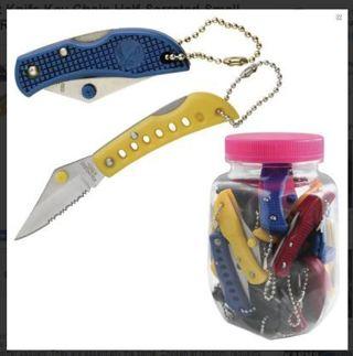 1 NEW Pocket Knife Key Chain Half-Serrated Small Mini **QUICK RANDOM PICK*