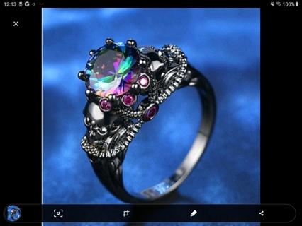 Beautiful black Skull ring with stones