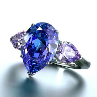 Fashion Women Rings Pear Cut Blue Sapphire 925 Silver Wedding Ring