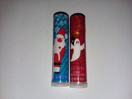 Set of 2 Avon Holiday Lip Balms / Spooky Caramel & Berry Blizzard
