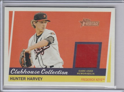 2016 TOPPS HERITAGE HUNTER HARVEY GAME USED RELIC MINORS CARD
