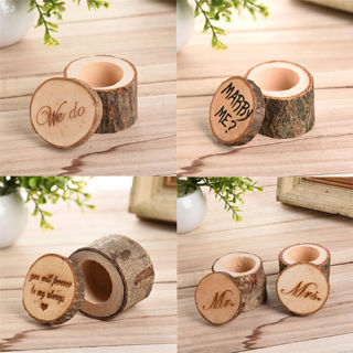 [GIN FOR FREE SHIPPING] 1Pc Wooden Ring Box Simulation Rustic Romantic