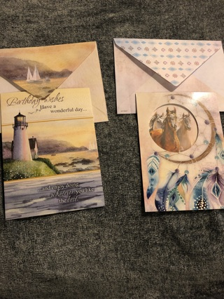 Two Beautiful Happy Birthday Cards With Matching Envelopes -  Free Ship to Winner!!