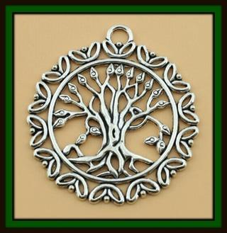 "X-Large TREE of LIFE Antiqued Tibetan Silver Pendant, 50mm x 47mm (2"" x 1-13/16""), Brand NEW!"