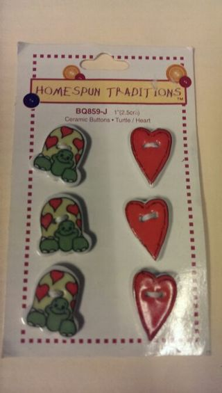 Ceramic Buttons -- Turtles and Hearts