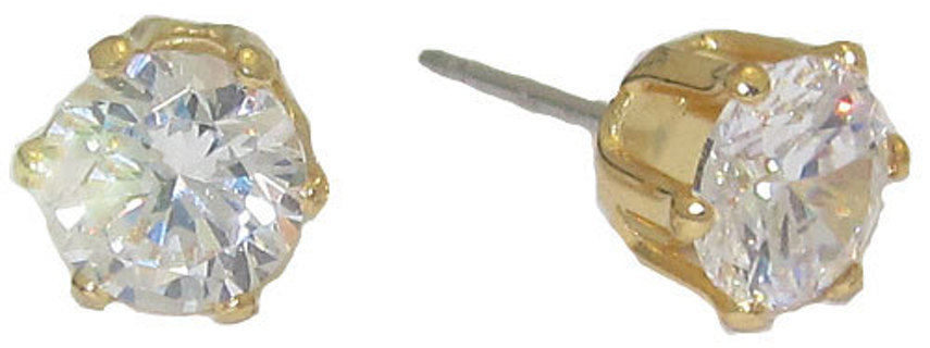 DIAMOND SIMULATED DIAMOND CARAT STUD EARRINGS IN WHITE OR YELLOW GOLD!!