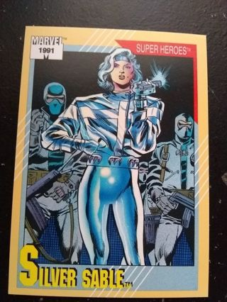 1992 Marvel Comic Trading Card Super Heroes Silver Sable