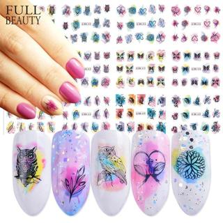 12 Design Watercolor Nail Sticker Decals DIY Owl Feather Flower Slider Tattoos Manicure Wraps for
