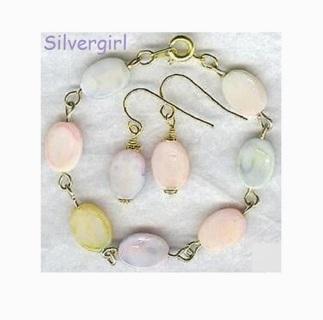 Pastel Oval Beaded Bracelet Earring Set