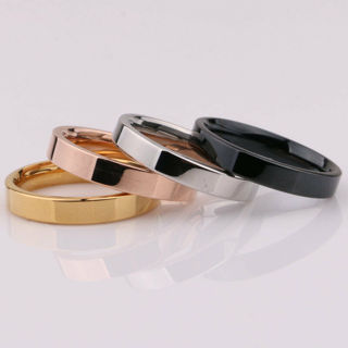 Silver/Gold/Rose Gold/Black Band Women Men's Titanium Steel Engagement Ring