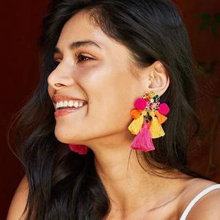 FASHIONSNOOPS Drop Crystal Earring Charm Boho Earrings Fashion Tassel Big Earring Dangle Large Wed