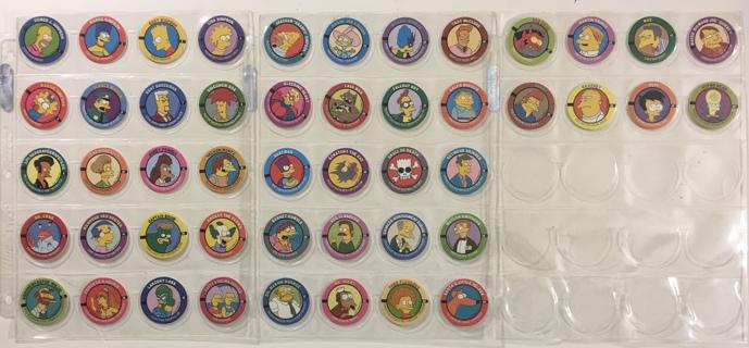 The Simpsons SkyCaps Pogs Lot of 48 - Bongo Comics / Skybox 1994
