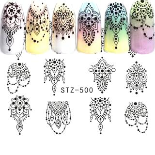 1PCS Noble Black Lace Water Nail Art Sticker Decals Watermark Slider Cute Patterns Transfer Tattoo