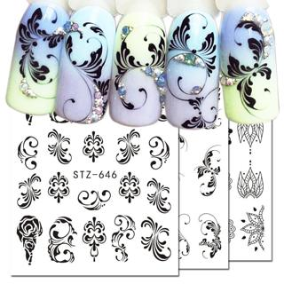 1pcs Nail Water Transfer Decals Nail Art Sticker Black Flowers Watermark Adhesive Sliders Wraps De