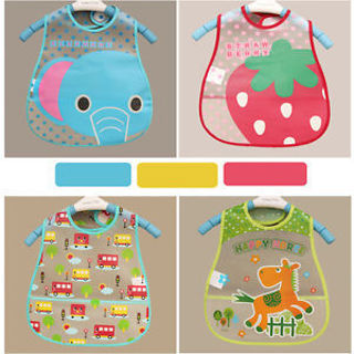 Baby Infant Waterproof Eat Coat Bib Painting Dress Dinner Pinny Burp Cloth