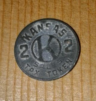 Kansas sales tax token, From around 1937