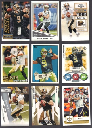 Drew Brees 11 different Cards - all listed - New Orleans Saints
