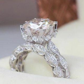 Women Fashion Jewelry 925 Silver White Sapphire Wedding Band Rings Set Size 6-10