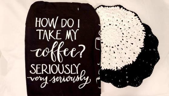 "Crochet 2 - 9"" Dish Cloth/Wash Cloths 1 FLOUR SACDISH TOWEL***GREAT FOR A COFFEE BAR***"
