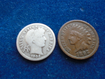 1892 & 1908 U.S. OLD COINS WITH SILVER ..FULL DATES!