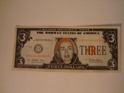 free commerative three dollar bill fake hillary rodman 3 00 bill