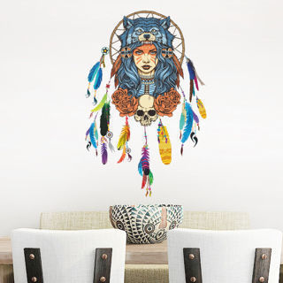 Indian Feathers Wall Decal Bedrooms Dream Catcher Sign Amulet Home Decor Sticker