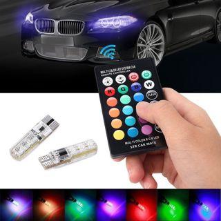 2X T10 5050 6 SMD RGB LED Car Dome Reading Light Lamp Bulb 12V +Remote Control