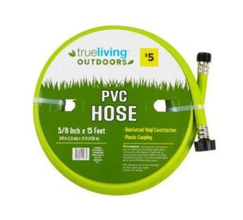 """~NEW~ True Living Outdoors 5/8"""" x 15' PVC Hose - Assorted, 1 ct"""