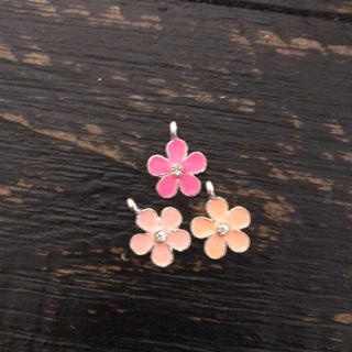 3 Pink Bling Flower Charms