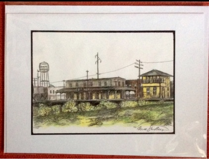 """OLD RAILROAD TOWN - 5 x 7"""" art card by artist Nina Struthers - GIN ONLY"""