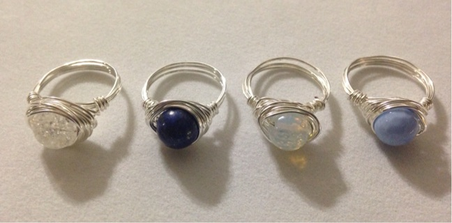 Semi-Precious Gemstone 8mm Bead Wire Wrapped Ring-Silver Filled Wire! You Choose!