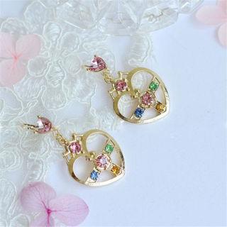 Anime Sailor Moon 25th Anniversary Cosmic Heart Pendant Cosplay Earrings