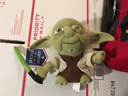 STAR WARS Yoda with Light Saber Plush Toy Stuffed Animal Friend FREE SHIPPING