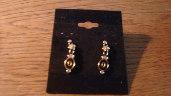 dangling gold and black earrings