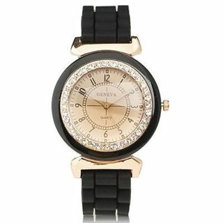 Black Geneva Silicone Golden Crystal Stone Quartz Wrist Watch For Women Girl