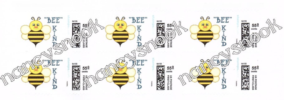 """6 count of Official USPS 55 cent postage stamps """"BEE KIND"""""""