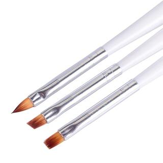 3pcs Nail Brush Pen Nail Art UV Gel Polish Flat Brush White Handle DIY Dot Painting Drawing Tools