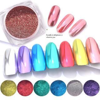 0.3g Laser Rose Gold Chrome Nail Art Glitter Holo Magic Mirror Powder Neon Optic
