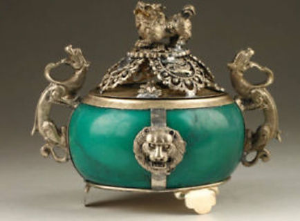 Collection Handmade Old Tibet Silver Dragon Jade Incense Burner s